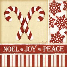 Candy Canes by Jennifer Pugh Christmas Holidays Print Poster 12x12