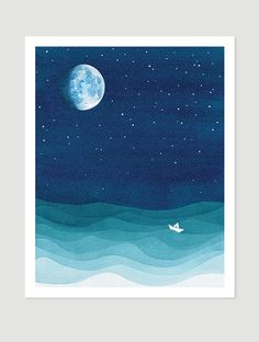 Moon phase print watercolor painting bedroom art stars sailboat blue teal starry night nursery nautical wall decor illustration ocean waves  Giclee Print of watercolor painting. Moon phase. Bedroom art print. Nautical wall decor with moon. Ocean waves. Lonely ship at sea in the starry night. Whimsical kids illustration of white sailboat, moon and stars. Blue marine illustration of rough sea will fit perfectly in nursery especially in the boys room. Nautical wall decor. Wave pattern…