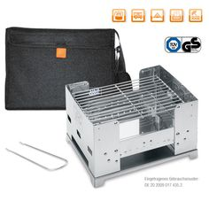 """Fold-away charcoal grill """"BBQ-Box"""" stainless steel"""