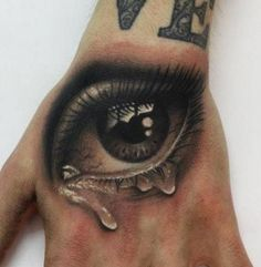 3d crying eye hand tattoo for men and women