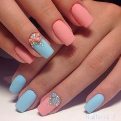 Contrast nails, Decorative nails, Matte nails, May nails, modeling nails, Pattern nails, Pink and blue nails, ring finger nails