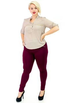 Plus Size Pull On Ponte Pants with V-Neck Semi-Sheer Blouse with Convertible Sleeves | Danice Stores