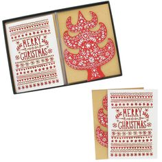 Faye's scandi laser cut Christmas cards - box of 8 at Paperchase