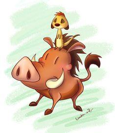Timon And Pumba by I-Am-Bleu.deviantart.com on @deviantART