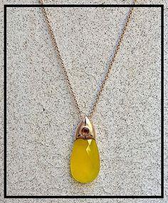 Natural Yellow Chalcedony Garnet Citrine 18k Rose Gold pendant, love #Handmade #Pendant