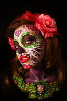 interesting idea for Day of the Dead makeup art Halloween Makeup Sugar Skull, Sugar Skull Makeup, Up Halloween, Halloween Tutorial, Halloween Parties, Vintage Halloween, Halloween Costumes, Dead Makeup, Makeup Art