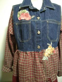 Hey, I found this really awesome Etsy listing at https://www.etsy.com/listing/565919680/upcycled-denim-tunic-with-plaid-and