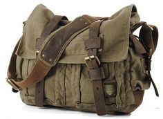 #Military #Canvas #Messenger Bag Medium Size