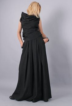 Long Skirt / Floor length skirt / Black long linen by urbanmood