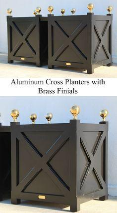 Aluminum Garden Cross Planters with brass finials.
