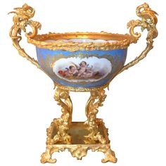 19th Century Sevres Style Porcelain Bowl Mounted in Gilt Bronze | From a unique collection of antique and modern bowls at https://www.1stdibs.com/furniture/dining-entertaining/bowls/