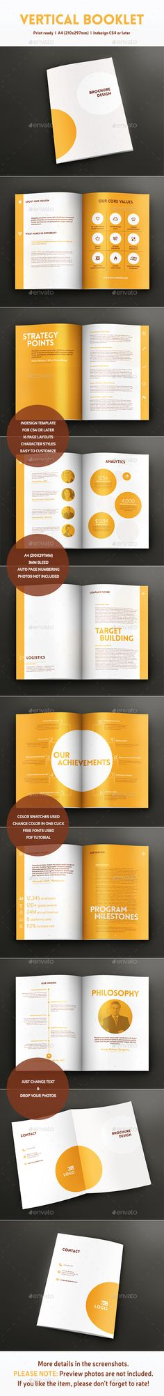 Vertical Booklet - Informational Brochures. Bright, fresh and bold in corporate, yet fun style. Yellow color for energy and dynamics.