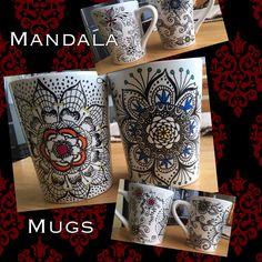 Zentangle sharpie mandala mugs … Mugs Sharpie, Sharpie Mug Designs, Sharpie Crafts, Painted Mugs, Hand Painted Ceramics, Vbs Crafts, Cute Crafts, Zentangle, Oil Based Sharpie