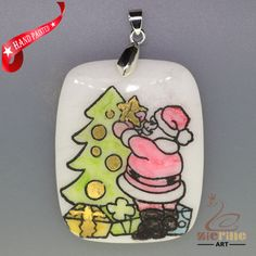 CHRISTMAS ENGRAVED HAND PAINTED SANTA PENDANT NATURAL WHITE STONE ZL7001698 #ZL #PENDANT