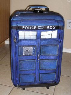 TARDIS suitcase, because, seriously, who doesn't need a suitcase that's bigger on the inside?