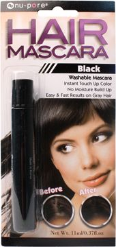 Nu-Pore Hair Mascara, Black   -Washable black hair mascara with instant touch up color.  -Perfect to cover up gray hair spots.  -Easy and fast results on gray hair.  -Moisture resistant.