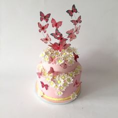 torta comunione con farfalle in wafer paper e margherite wafer paper butterflies and daisies cake