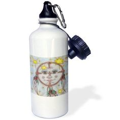 3dRose Medicine Wisdom Of Grandmother Blue Moon, Sports Water Bottle, 21oz, White