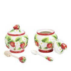 Sweeten up your breakfast with this Temp-tations figural fruit jam and honey jar set. Temptations By Tara, Strawberry Kitchen, Fruit Jam, Honey, Jar, Strawberries, Bees, Fun Stuff, Addiction