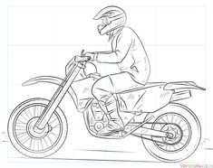 How to draw a dirty bike step by step. Drawing tutorials for kids and beginners.