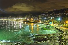 Arpoador Beach At Night Samba, Visit Brazil, Beach At Night, Find Hotels, Hostel, Green Colors, Explore, Best Deals, Attraction