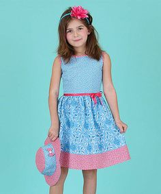 Another great find on #zulily! Blue Floral Dress & Sunhat - Infant, Toddler & Girls #zulilyfinds