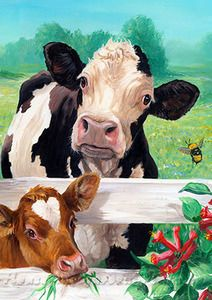 Farm garden Illustration - Toland Home Garden Farm Buddies Garden flag Farm Paintings, Animal Paintings, Cow Pictures, Garden Illustration, Beautiful Farm, Cow Painting, Farm Art, Cow Art, Flag Decor