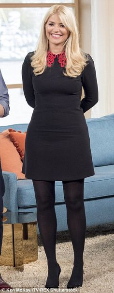 Holly Willoughby in a seriously chic ornate collar dress on This Morning Holly Willoughby Legs, Holly Willoughby Outfits, Black Opaque Tights, Red Tights, Sheer Tights, Black Pantyhose, Nylons, Work Fashion, Fashion Outfits