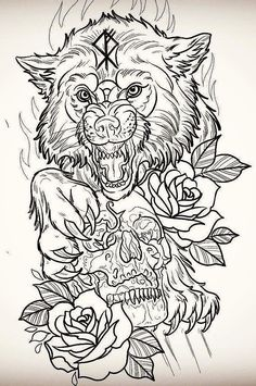 Wolf tattoo design.