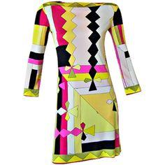 EMILIO PUCCI - STYLISH 1960'S PUCCI GEOMETRIC PATTERN SILK JERSEY... ❤ liked on Polyvore featuring dresses, pucci, emilio pucci, vestiti, silk jersey, geo dress, geo print dress and geometric pattern dress