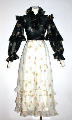 Maxi robe Vintage BILL BLASS volante Floral robe de mousseline de soie - AUTHENTIQUE-