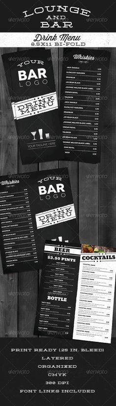 Lounge Bar Drink Menu (Modern) - Food Menus Print Templates