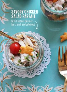Savory Chicken Salad Parfaits with Cheddar Bunnies