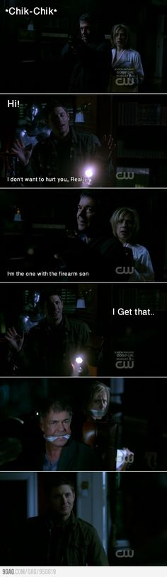 The look on his face in the end says it all. Dean Winchester doesn't need a weapon, he is a weapon.