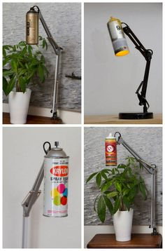 Desk lamp made from recycled spray paint cans with the spray nozzle acting as on/off switch. Another cool idea for re-using old spray cans! Ikea Desk Lamp, Best Desk Lamp, Spray Can Art, Spray Paint Cans, Graffiti Bedroom, Photographie Street Art, Desktop Lamp, House Lamp, Wooden Lamp
