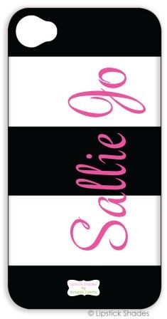Monogrammed iPhone Lifeproof Case by Lipstick Shades - Stripes Pattern - Select Your Colors ($124.00)