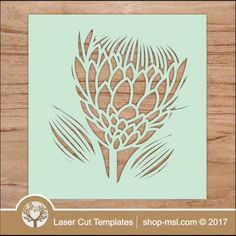"Laser cut stencil Protea template. Download vector files, add or remove any part, resize to any size. Cut out of wood, acrylic, paper or hardboard.   <a href=""http://shop-msl.com/View/Index.php?pge=1&cat=204,205"" target=""_blank"" style=""text-decoration:underline"">  more flowers </a>   <a href=""https://za.pinterest.com/cut_templates/"" target=""_blank&quo..."