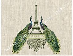 Paris Eiffel Tower Peacocks Instant clip art digital by graphicals Poppy Template, Teal Bird, Princess Crafts, Burlap Background, Iron On Fabric, Paris Eiffel Tower, Eiffel Towers, Burlap Pillows, Decoupage Paper