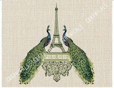 Paris Eiffel Tower Peacocks Instant clip art digital by graphicals Teal Bird, Burlap Background, Iron On Fabric, Paris Eiffel Tower, Eiffel Towers, Burlap Pillows, Decoupage Paper, Coq, Vintage Images