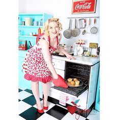 Fresh baked goods are the Best! Happy cooking and happy living SRx Retro Apron, Aprons Vintage, Pin Up Photography, Life Is Beautiful, Outfit Of The Day, Strapless Dress, Couture, Red, Housewife