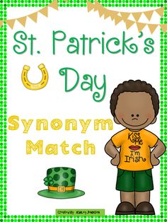 This St. Patrick's Day synonym match is a great activity for whole or small groups and literacy centers. This is also bundled in my St. Patrick's Day unit with over 100+ pages.  $
