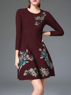 #AdoreWe Jade&Cloud Crew Neck Embroidered Casual Long Sleeve Mini Dress - AdoreWe.com