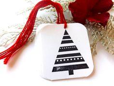 Black and White Christmas Tree Gift Tags // Set of 6. $2.50, via Etsy.
