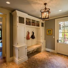 Calming Brown Hallway Theme Color Paired With White Mudroom Cabinet Beside French Door Plus Decorative Cube Glass Pendant Lamp
