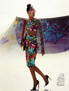 Bright patterns, midi skirt, nice VOGUE BRASIL | Editorial Moda Janeiro 2013 | Gracie Carvalho por Phillipe Kliot