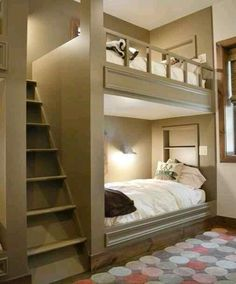1) #bunk #beds are a great idea for the #guest room. You could even have them as twins or queen size so couples can comfortably stay there. 2) the built in #staircase / #ladder is a great idea as it makes getting up into and out of the top bed much easier. #guestroom #inlaws #family #vacation #sleepover #travel #homeandgarden #decor #spacesaver #HerSolution