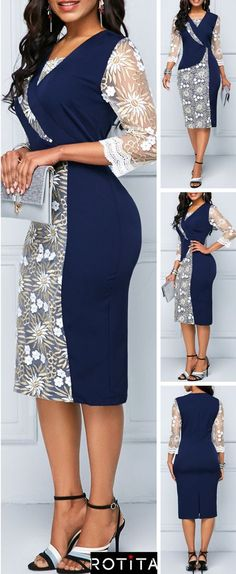 The dress is featuring lace neck, lace printed and sheath length. The dress is elegant and fashion. It's perfect for vacation, beach, party and many occasions. Latest African Fashion Dresses, African Dresses For Women, African Attire, Robes D'occasion, Lace Dress Styles, Dress Outfits, Fashion Outfits, Classy Dress, Stylish Outfits