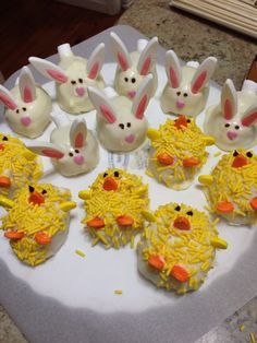 Easter Bunny & chick white chocolate mud cake balls