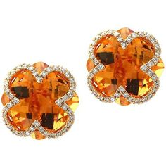 Effy Faceted Citrine Inlay Earrings ($1,872) ❤ liked on Polyvore featuring jewelry, earrings, gold, effy jewelry, 14 karat gold earrings, post earrings, facet jewelry and 14k earrings