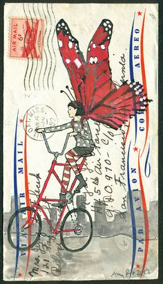 mail art - Butterfly on a Tall Bike: a Small and Affordable Original Art Piece on 1952 Air Mail Envelope